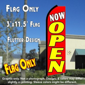 NOW OPEN (Red/Yellow) Flutter Feather Banner Flag (11.5 x 3 Feet)