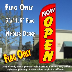 Now Open (Red/Yellow) Windless Polyknit Feather Flag (3 x 11.5 feet)