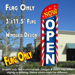 Now Open (Starburst) Windless Polyknit Feather Flag (3 x 11.5 feet)