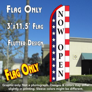NOW OPEN (Stars & Stripes) Flutter Feather Banner Flag (11.5 x 3 Feet)