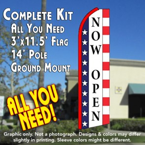 OPEN (Stars & Stripes) Flutter Feather Banner Flag Kit (Flag, Pole, & Ground Mt)