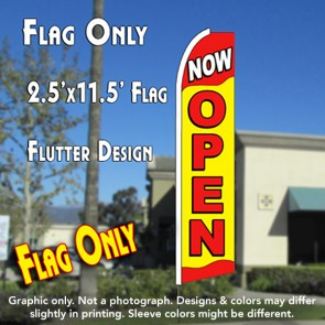 NOW OPEN (Yellow/Red) Flutter Feather Banner Flag (11.5 x 2.5 Feet)