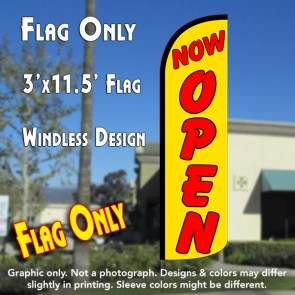 Now Open (Yellow/Red) Windless Polyknit Feather Flag (3 x 11.5 feet)