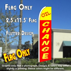 OIL CHANGE 2.5 (Yellow/Red) Flutter Feather Banner Flag (11.5 x 2.5 Feet)