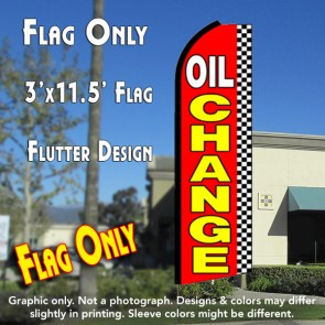 OIL CHANGE (Checkered) Flutter Feather Banner Flag (11.5 x 3 Feet)