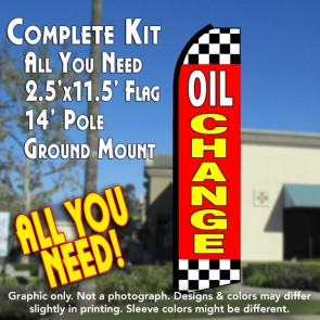 OIL CHANGE (Red/Checkered) Flutter Feather Banner Flag Kit (Flag, Pole, & Ground Mt)