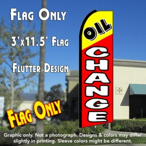 OIL CHANGE (Yellow/Red) Flutter Feather Banner Flag (11.5 x 3 Feet)