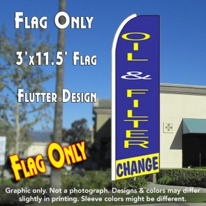 OIL & FILTER CHANGE (Blue/Yellow) Flutter Feather Banner Flag (11.5 x 3 Feet)