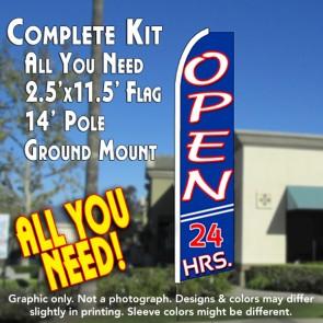 OPEN 24 HRS (Blue) Flutter Feather Banner Flag Kit (Flag, Pole, & Ground Mt)