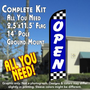 Open (Blue/Checks) Windless Feather Banner Flag Kit (Flag, Pole, & Ground Mt)