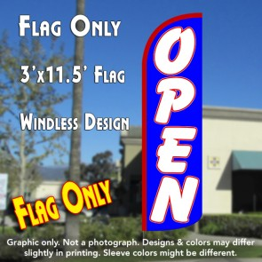 Open (Blue/White) Windless Polyknit Feather Flag (3 x 11.5 feet)