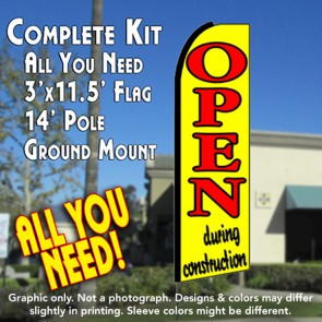 OPEN DURING CONSTRUCTION (Yellow) Flutter Feather Banner Flag Kit (Flag, Pole, & Ground Mt)