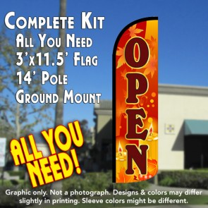 Open (Fall Theme) Windless Feather Banner Flag Kit (Flag, Pole, & Ground Mt)