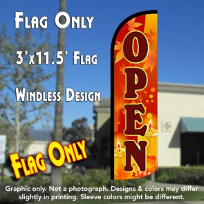 Open (Fall Theme) Windless Polyknit Feather Flag (3 x 11.5 feet)