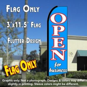 OPEN FOR BUSINESS (Blue) Flutter Feather Banner Flag (11.5 x 3 Feet)
