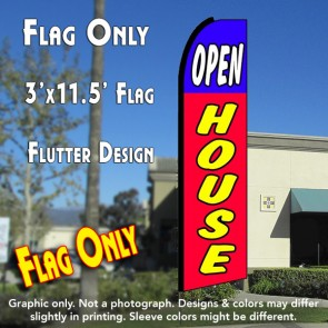 OPEN HOUSE (Blue/Red) Windless Feather Banner Flag (2.5 x 11.5 Feet)