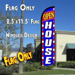 OPEN HOUSE (Blue/White/Stars) Windless Polyknit Feather Flag (2.5 x 11.5 feet)