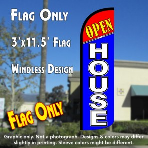 Open House (Red/Blue) Windless Polyknit Feather Flag (3 x 11.5 feet)