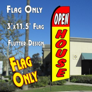 OPEN HOUSE (Red/Yellow) Flutter Feather Banner Flag (11.5 x 3 Feet)