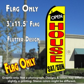 OPEN HOUSE SAT/SUN (Yellow) Flutter Feather Banner Flag (11.5 x 3 Feet)