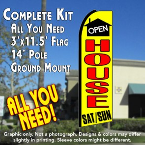 OPEN HOUSE SAT/SUN (Yellow) Flutter Feather Banner Flag Kit (Flag, Pole, & Ground Mt)