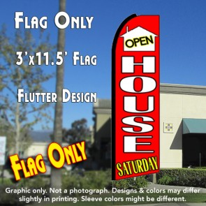 OPEN HOUSE SATURDAY (Red) Flutter Feather Banner Flag (11.5 x 3 Feet)