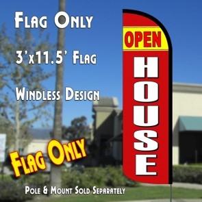 OPEN HOUSE (Yellow/Red) Flutter Polyknit Feather Flag (11.5 x 2.5 feet)