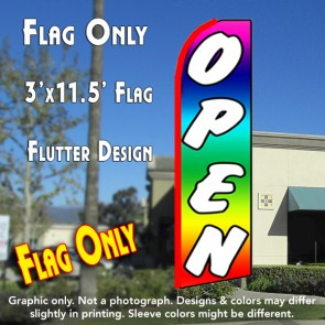 OPEN (Multi-colored) Flutter Feather Banner Flag (11.5 x 3 Feet)