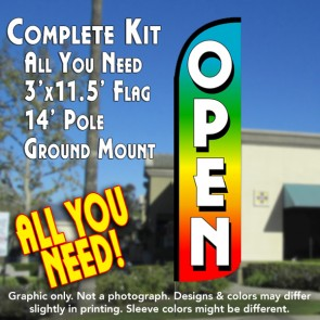 Open (Multi-colored) Windless Feather Banner Flag Kit (Flag, Pole, & Ground Mt)