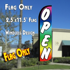 OPEN (Multicolor) Windless Polyknit Feather Flag (2.5 x 11.5 feet)