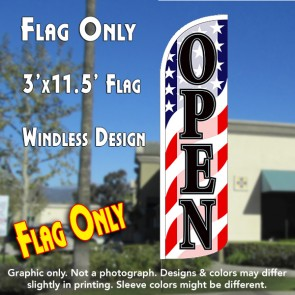 Open (Patriotic Waves) Windless Polyknit Feather Flag (3 x 11.5 feet)