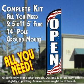 Open (Patriotic) Windless Feather Banner Flag Kit (Flag, Pole, & Ground Mt)