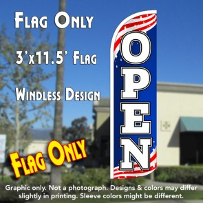Open (Patriotic) Windless Polyknit Feather Flag (3 x 11.5 feet)