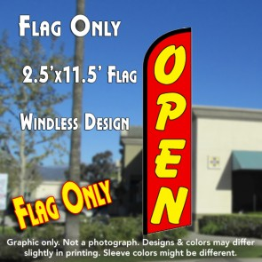 Open (Red/Yellow) Windless Feather Banner Flag (2.5 x 11.5 Feet)