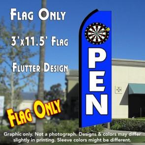 OPEN (Sports) Flutter Feather Banner Flag (11.5 x 3 Feet)
