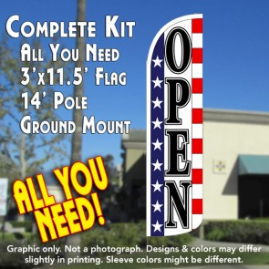 Open (Stars & Stripes) Windless Feather Banner Flag Kit (Flag, Pole, & Ground Mt)