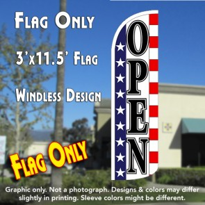 Open (Stars & Stripes) Windless Polyknit Feather Flag (3 x 11.5 feet)