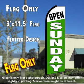 OPEN SUNDAY (White/Green) Flutter Feather Banner Flag (11.5 x 3 Feet)