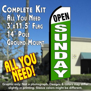 OPEN SUNDAY (White/Green) Flutter Feather Banner Flag Kit (Flag, Pole, & Ground Mt)