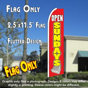 OPEN SUNDAYS (Calendar) Flutter Feather Banner Flag (11.5 x 2.5 Feet)