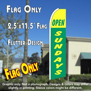 OPEN SUNDAYS (Green/Yellow) Flutter Feather Banner Flag (11.5 x 2.5 Feet)