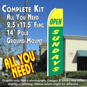 OPEN SUNDAYS (Green/Yellow) Flutter Feather Banner Flag Kit (Flag, Pole, & Ground Mt)