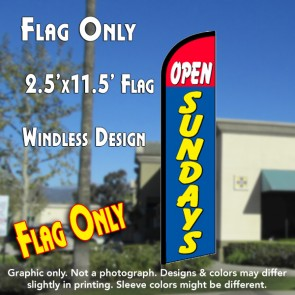 OPEN SUNDAYS (Red/Blue) Windless Feather Banner Flag (2.5 x 11.5 Feet)