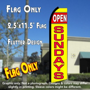 OPEN SUNDAYS (Red/Yellow) Flutter Polyknit Feather Flag (11.5 x 2.5 feet)