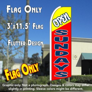 OPEN SUNDAYS (Yellow/Red) Flutter Feather Banner Flag (11.5 x 3 Feet)