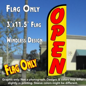 Open (Yellow/Red) Windless Polyknit Feather Flag (3 x 11.5 feet)