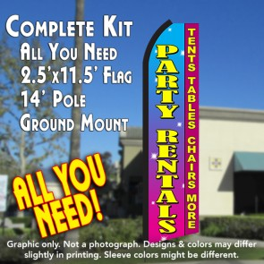PARTY RENTALS Tents Tables Chairs More (Pink/Yellow) Flutter Feather Banner Flag Kit (Flag, Pole, & Ground Mt)