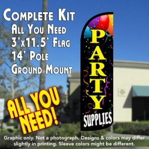 Party Supplies Windless Feather Banner Flag Kit (Flag, Pole, & Ground Mt)