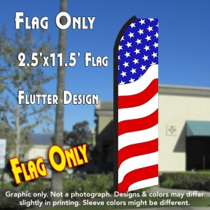 PATRIOTIC (Waves) Flutter Polyknit Feather Flag (11.5 x 2.5 feet)