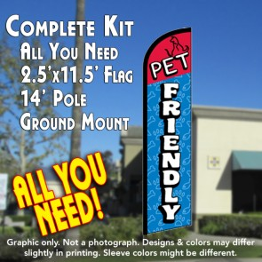 PET FRIENDLY Windless Feather Banner Flag Kit (Flag, Pole, & Ground Mt)